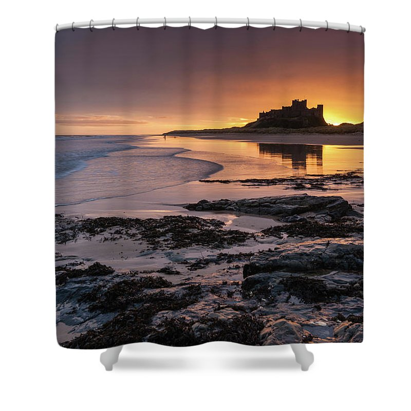 Sunrise Shower Curtain featuring the photograph Sunrise at Bamburgh Castle #4, Northumberland, North East England by Anthony Lawlor