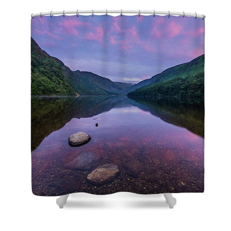 Sunrise Shower Curtain featuring the photograph Sunrise at Glendalough Upper Lake #1, County Wicklow, Ireland by Anthony Lawlor