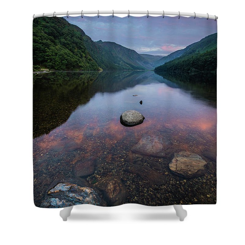 Sunrise Shower Curtain featuring the photograph Sunrise at Glendalough Upper Lake #2, County Wicklow, Ireland by Anthony Lawlor