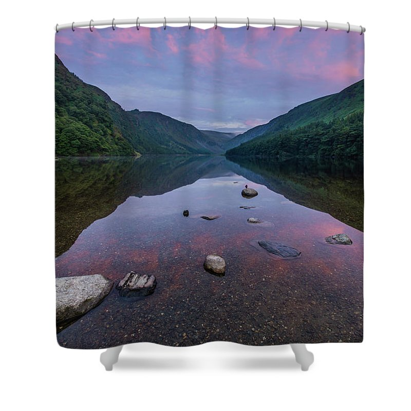 Sunrise Shower Curtain featuring the photograph Sunrise at Glendalough Upper Lake #3, County Wicklow, Ireland. by Anthony Lawlor
