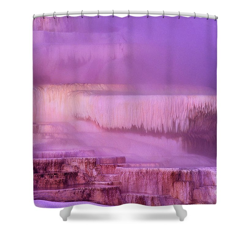 North America Shower Curtain featuring the photograph Sunrise At Minerva Springs Yellowstone National Park by Dave Welling