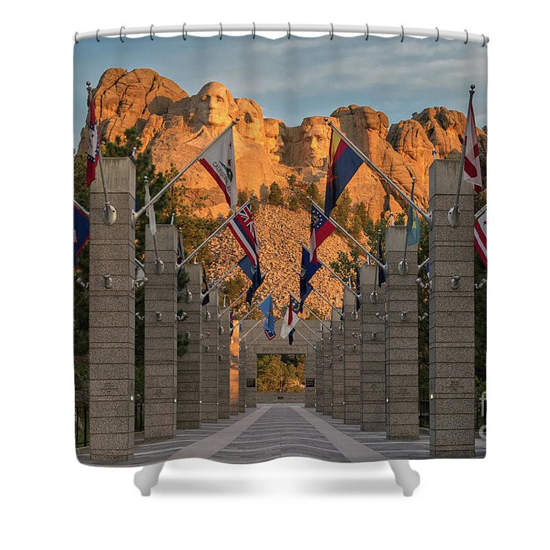 Avenue Of Flags Shower Curtain featuring the photograph Sunrise At Mount Rushmore Promenade by Jerry Fornarotto