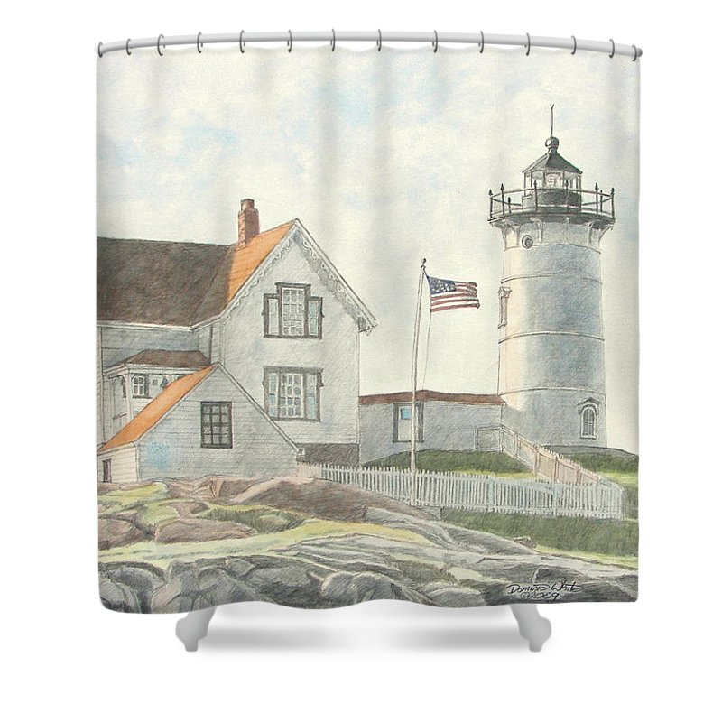 Watercolor Shower Curtain featuring the painting Sunrise At Nubble Light by Dominic White