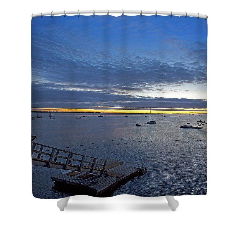 Barnstable Shower Curtain featuring the photograph Sunrise At The Barnstable Yacht Club by Charles Harden