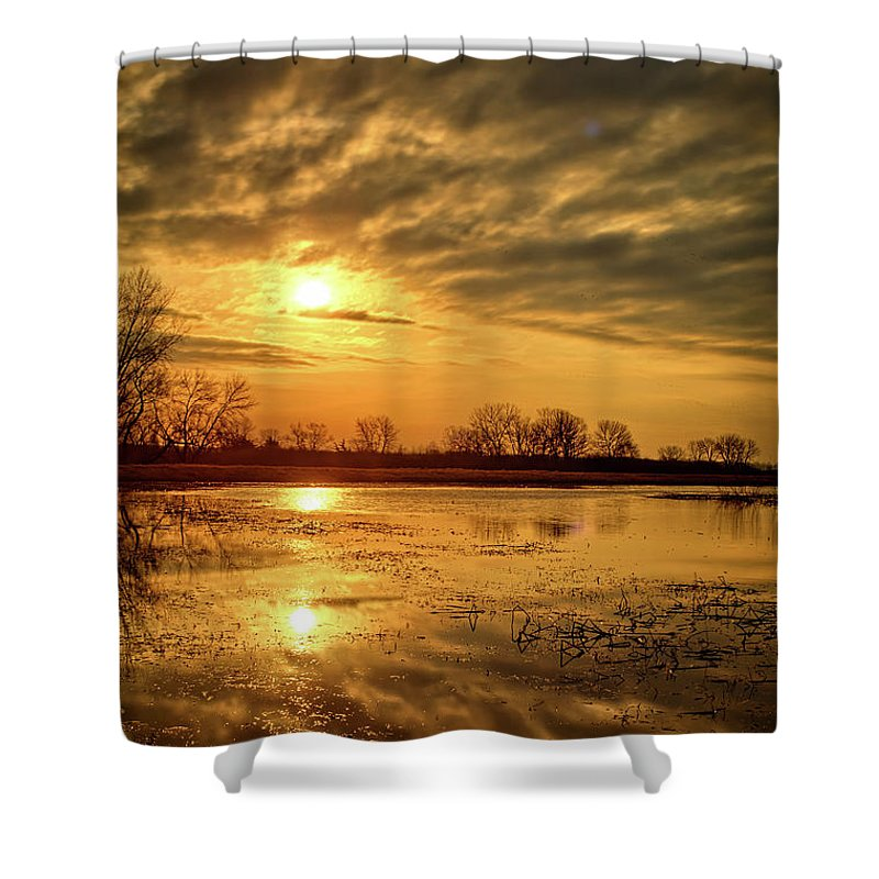 Sunset Shower Curtain featuring the photograph Sunrise At The Big Marsh 2 by Bonfire Photography