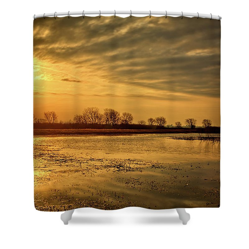 Sunset Shower Curtain featuring the photograph Sunrise At The Big Marsh by Bonfire Photography