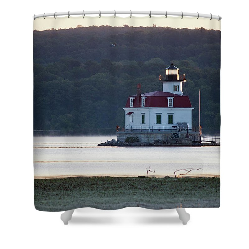 Lighthouse Shower Curtain featuring the photograph Sunrise at the Esopus Lighthouse by Jeff Severson