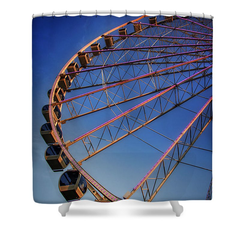 The Great Smoky Mountain Wheel Shower Curtain featuring the photograph Sunrise At The Whee by Greg Mimbs