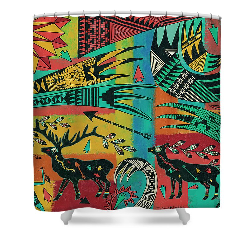 Elk Shower Curtain Featuring The Painting Sunrise By Medana Gabbard
