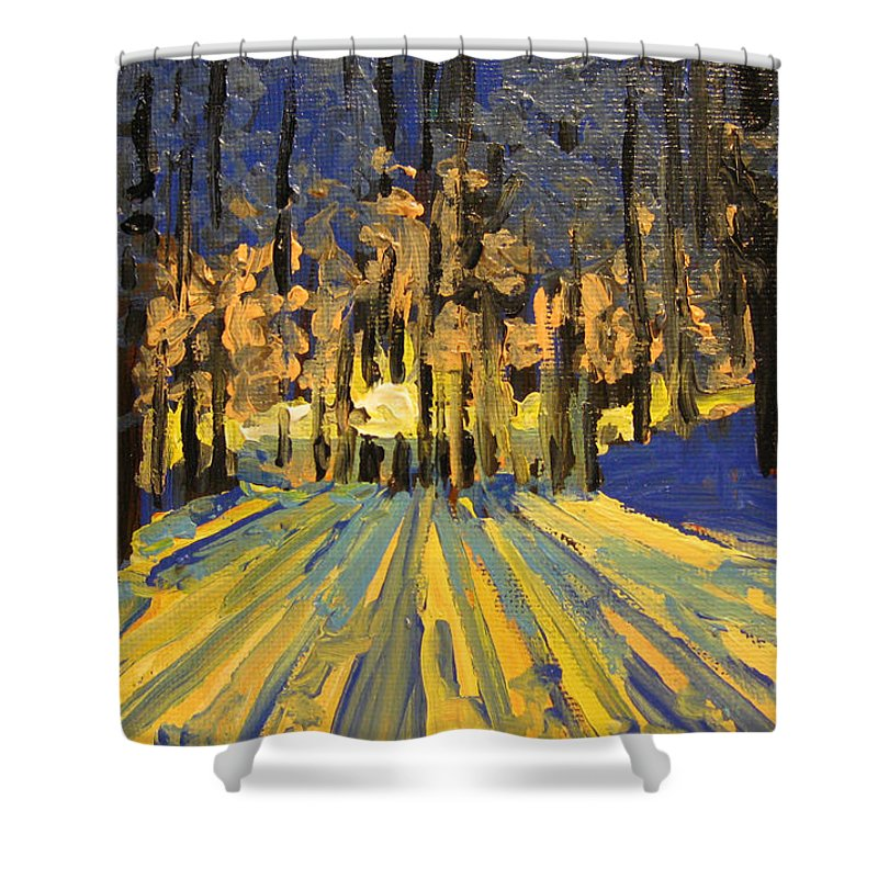 Landscape Shower Curtain featuring the painting Sunrise Forest Modern Impressionist Landscape Painting by Patricia Awapara