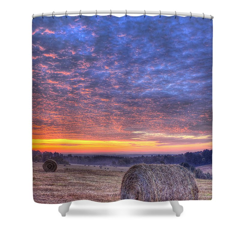 Reid Callaway Sunrise Landscape Shower Curtain featuring the photograph Sunrise Hayfield And A View Walker Church Road by Reid Callaway