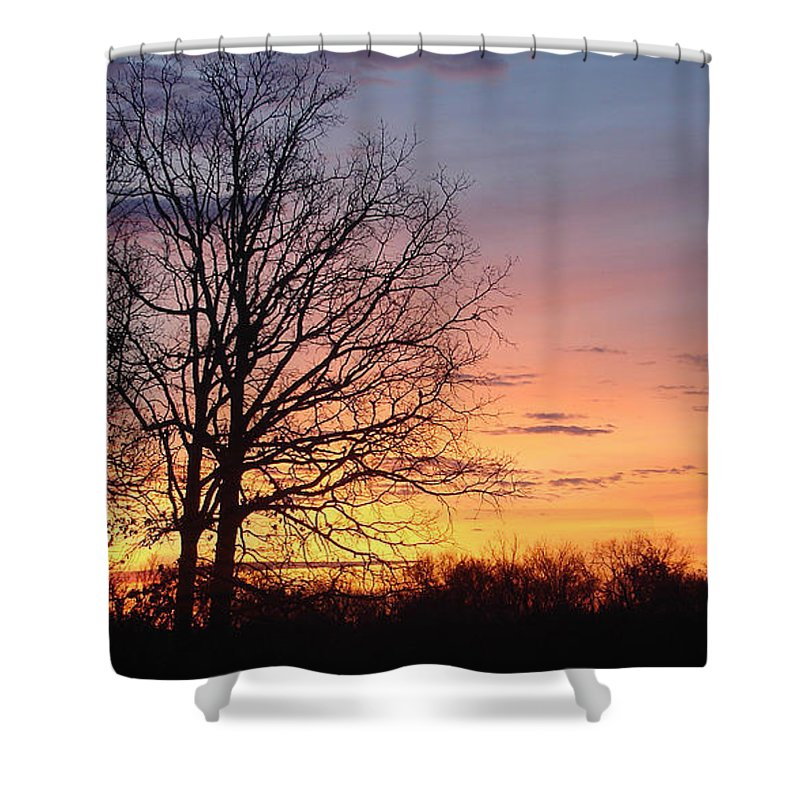 Tree Black Orange Shower Curtain featuring the photograph Sunrise In Illinois by Luciana Seymour