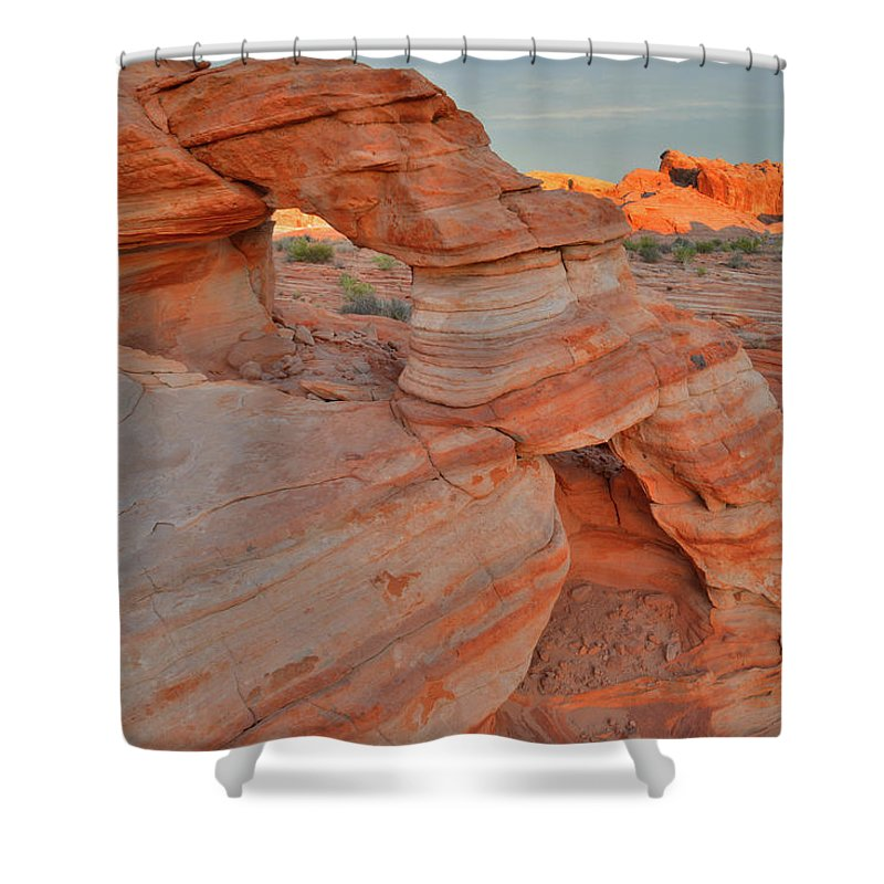 Valley Of Fire State Park Shower Curtain featuring the photograph Sunrise In Valley Of Fire State Park by Ray Mathis