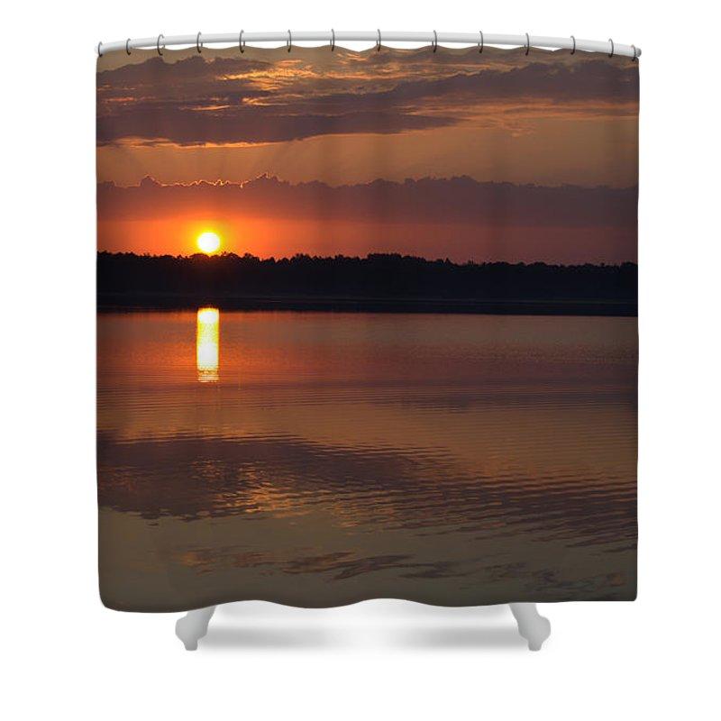 Sunrise Shower Curtain featuring the pyrography Sunrise by Monika Grabowska