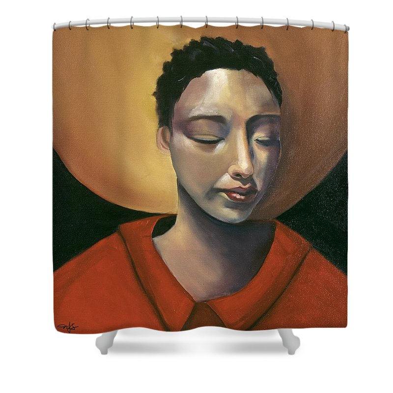 Asian Girl Woman Sun Red Ethnic Black Figurative Portrait Shower Curtain featuring the painting Sunrise by Niki Sands