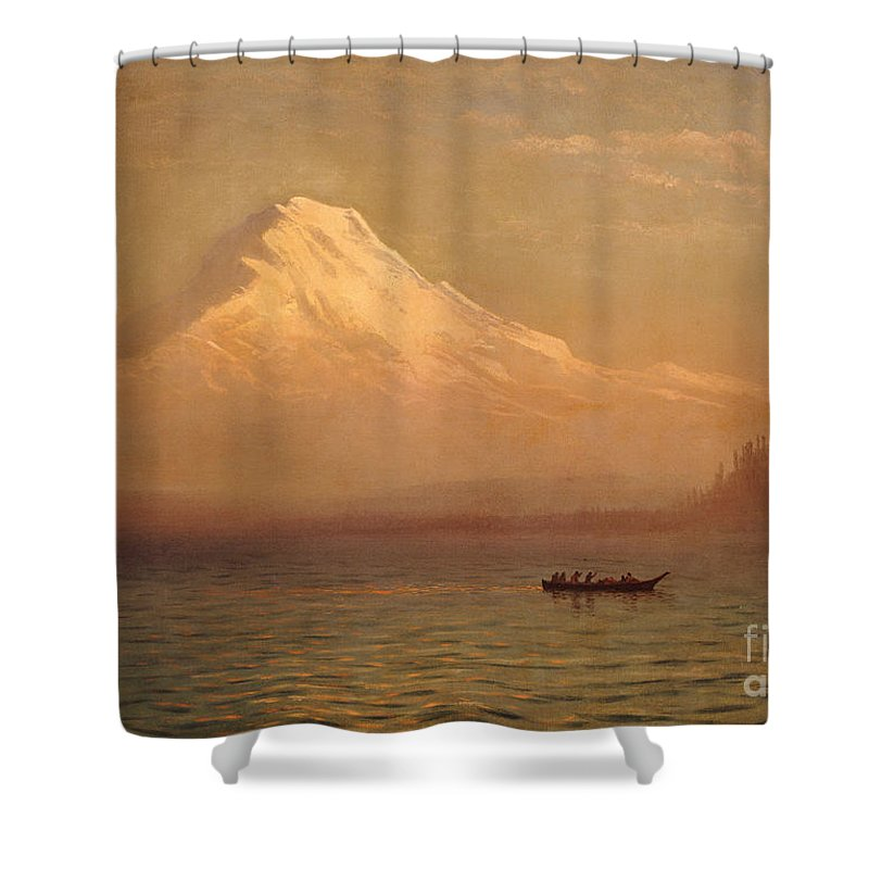 American; Landscape; Mount Rainier; Mt; Washington State; Mowich Lake; Volcano; Mountain; West; Western; Northwest; Wilderness; Boat; Dawn; Snowcapped; Snow-capped Shower Curtain featuring the painting Sunrise On Mount Tacoma by Albert Bierstadt
