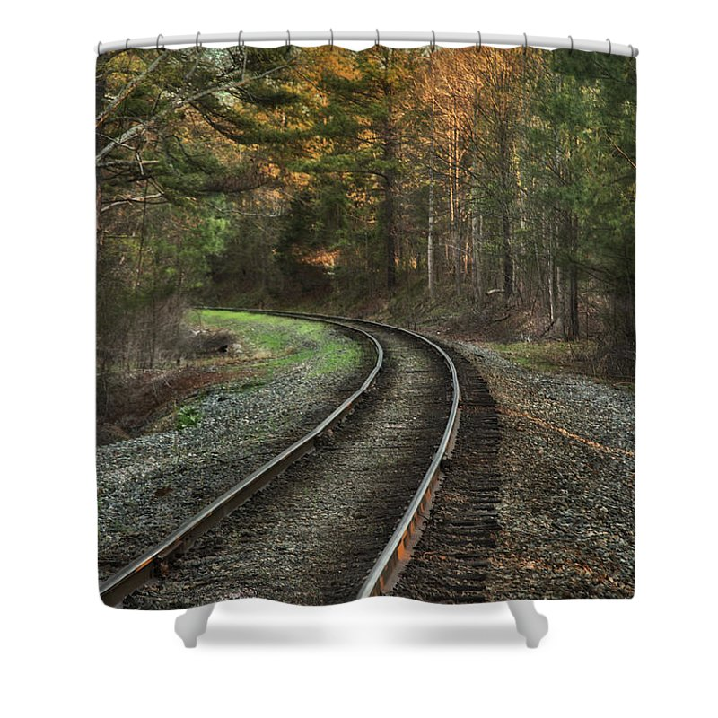 Sunrise Shower Curtain featuring the photograph Sunrise On The Rails by Cliff Middlebrook