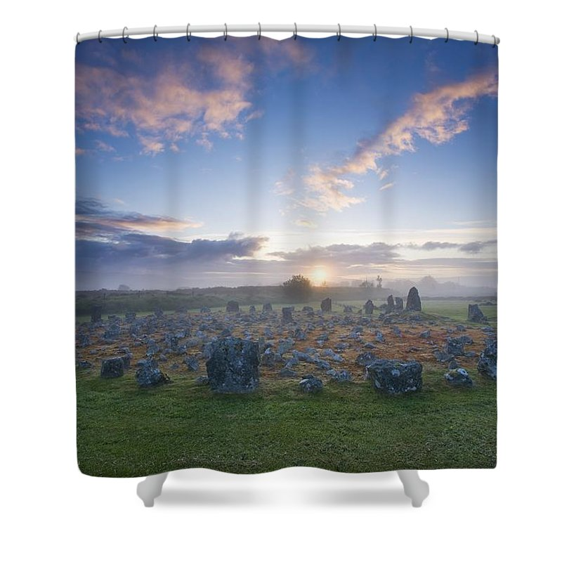 Beaghmore Stone Circles Shower Curtain featuring the photograph Sunrise Over Beaghmore Stone Circles by Gareth McCormack