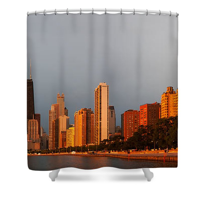 Sunrise Shower Curtain featuring the photograph Sunrise Over Chicago by Adam Romanowicz