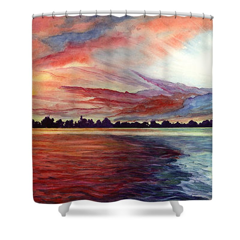 Sunrise Shower Curtain featuring the painting Sunrise Over Indian Lake by Nancy Cupp