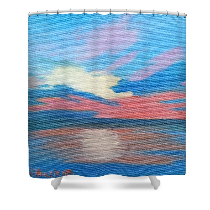 Fine Art Shower Curtain featuring the painting Sunrise Over Ocean City Maryland by Ruth Housley