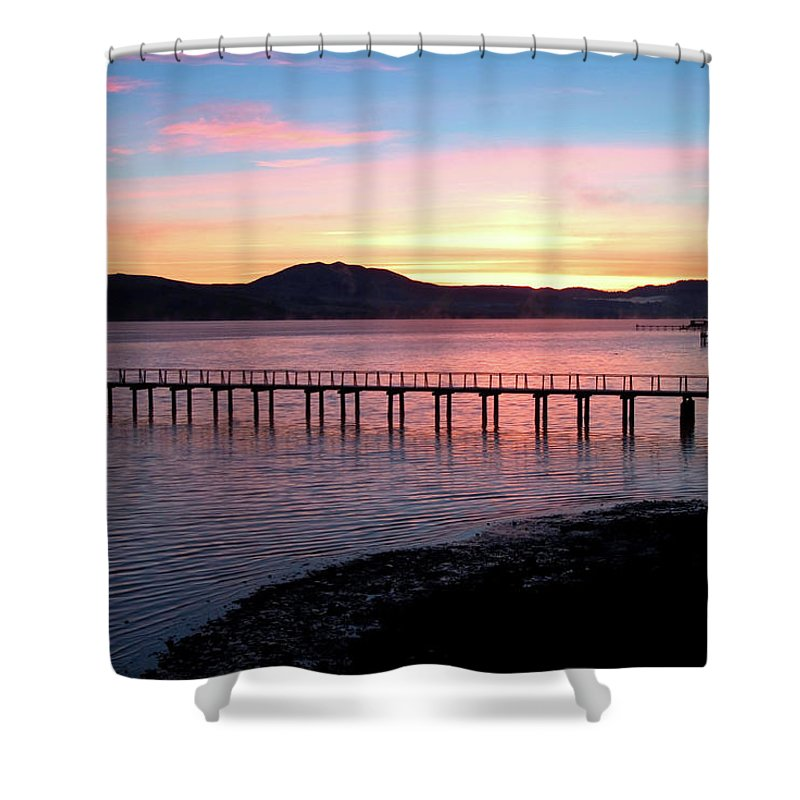 Sunrise Shower Curtain featuring the photograph Sunrise Over Tomales Bay by Charlene Mitchell