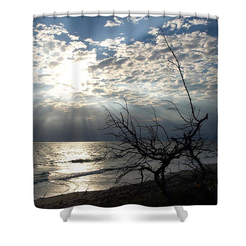 Morning; Sun; Rise; Sunrise; Sunset; Space; Coast; Melbourne; Beach; Florida; Shore; Rays; Fog; Mist Shower Curtain featuring the photograph Sunrise Prayer On The Beach by Allan Hughes