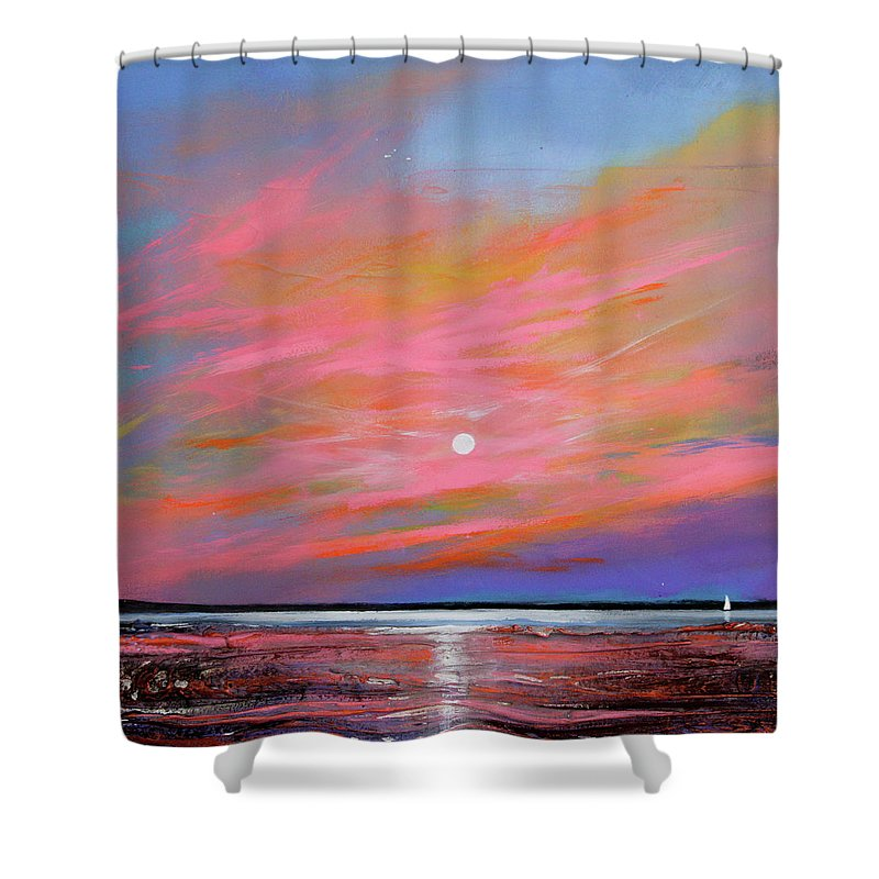 Sunrise Shower Curtain featuring the painting Sunrise Sail by Toni Grote