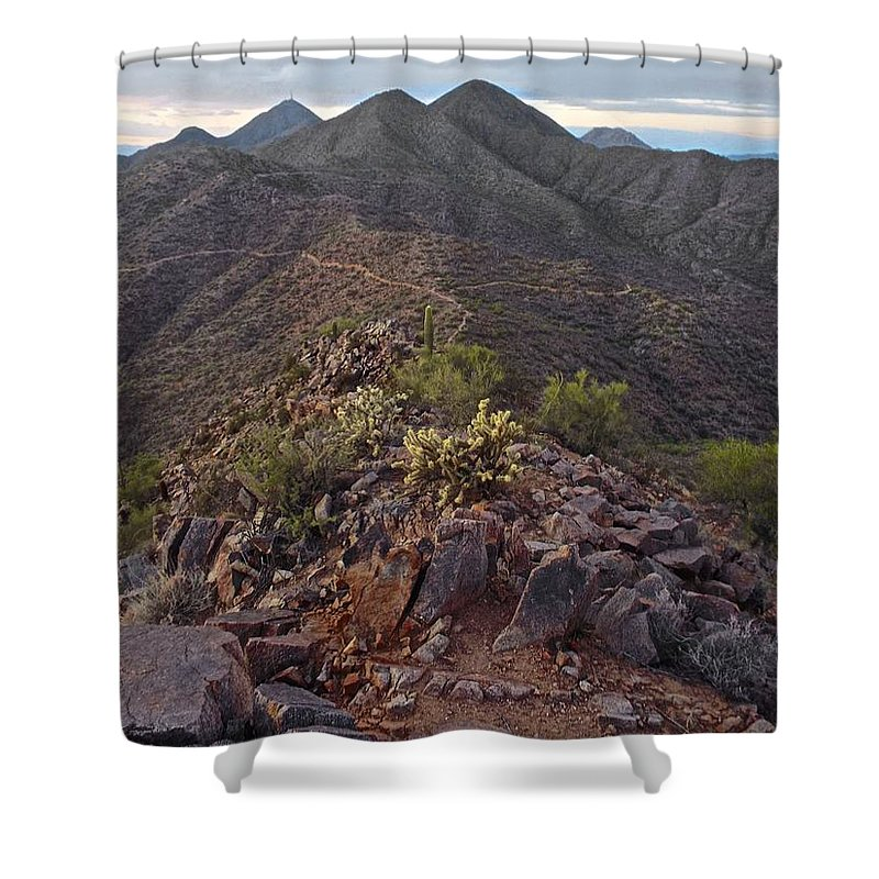 Arizona Shower Curtain featuring the photograph Sunrise Summit by Michael Cappelli