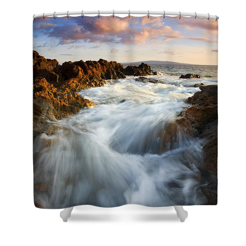 Hawaii Shower Curtain featuring the photograph Sunrise Surge by Mike Dawson