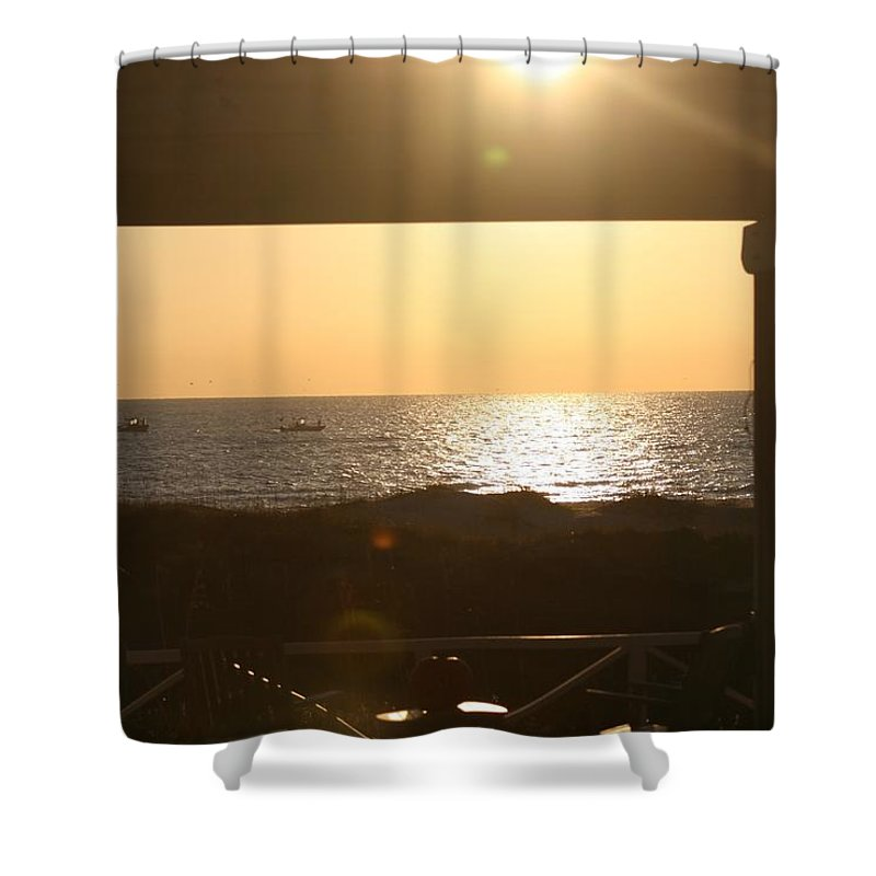 Sunrise Shower Curtain featuring the photograph Sunrise Through The Pavilion by Nadine Rippelmeyer