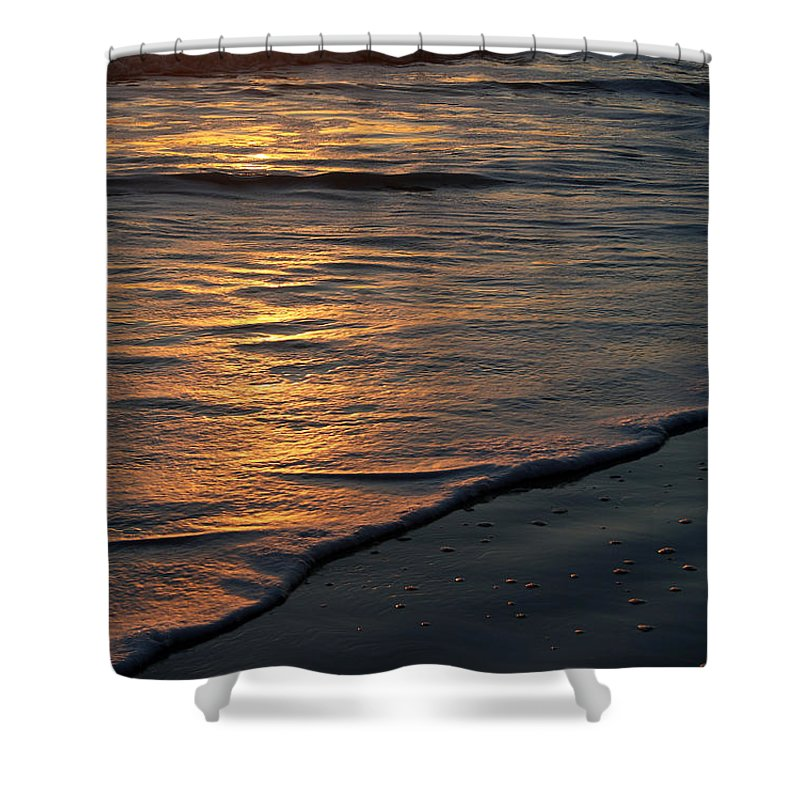 Ocean Beach Sun Sunrise Reflection Wave Tide Bright Orange Gold Water Vacation Shower Curtain featuring the photograph Sunrise Waves by Andrei Shliakhau