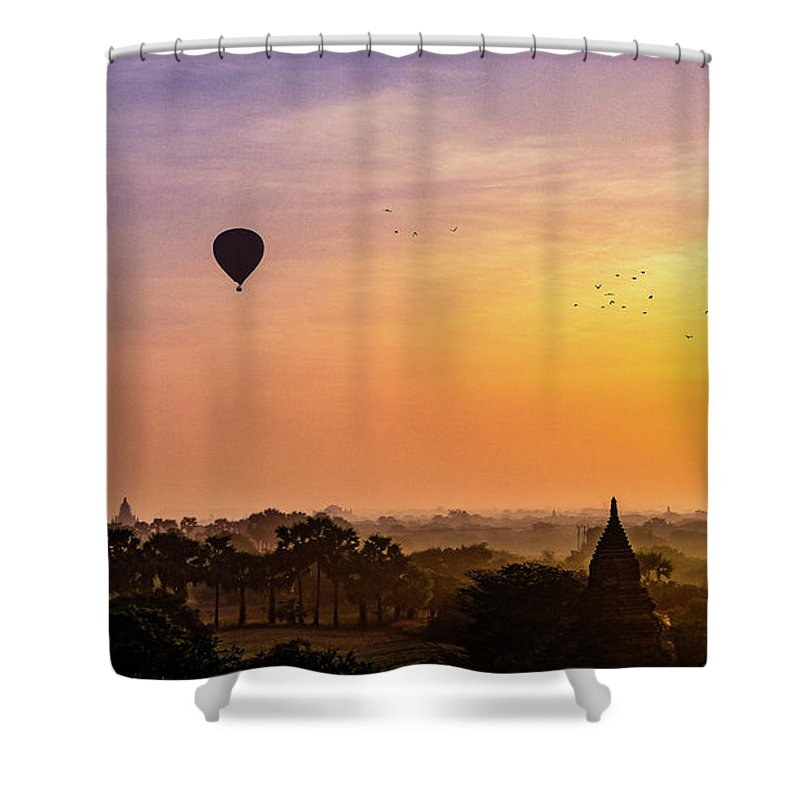 Landscape Shower Curtain featuring the photograph Sunrise With Balloons by Sascha Huber