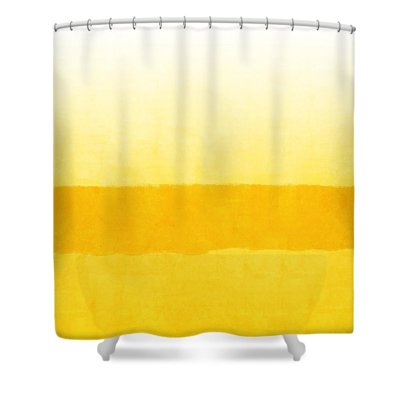 Abstract Shower Curtain featuring the painting Sunrise- Yellow Abstract Art by Linda Woods by Linda Woods