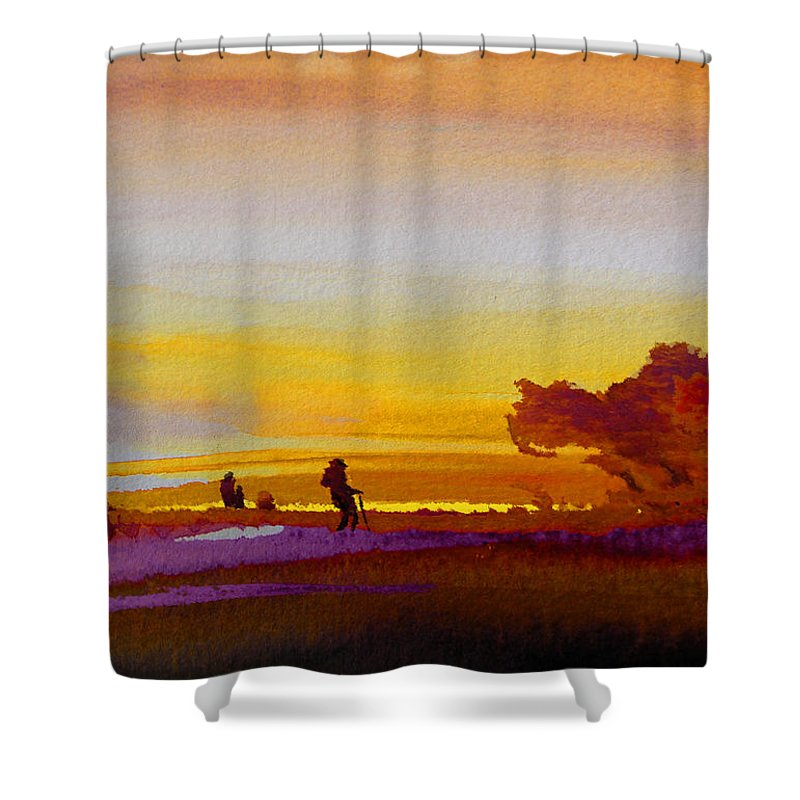 Watercolour Shower Curtain featuring the painting Sunset 07 by Miki De Goodaboom