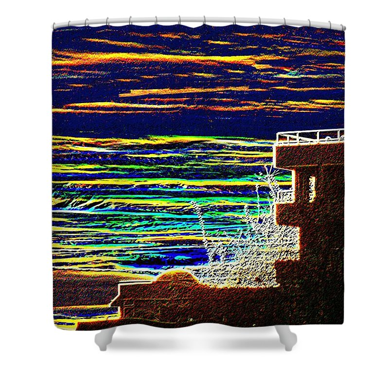 Seattle Shower Curtain featuring the digital art Sunset 1 by Tim Allen