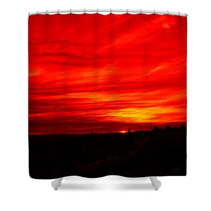 Seattle Shower Curtain featuring the digital art Sunset 2 by Tim Allen