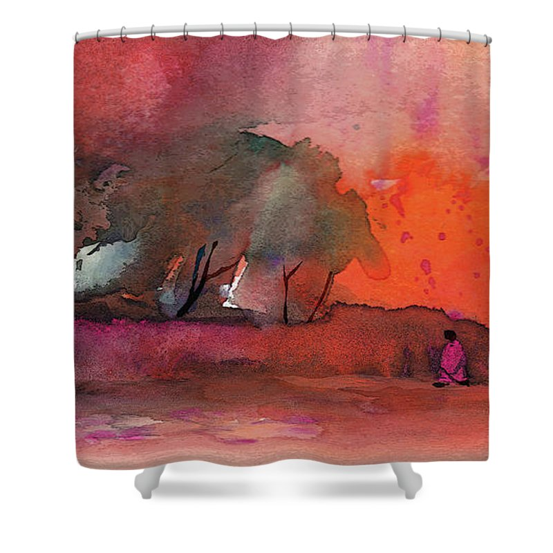 Impressionism Shower Curtain featuring the painting Sunset 28 by Miki De Goodaboom