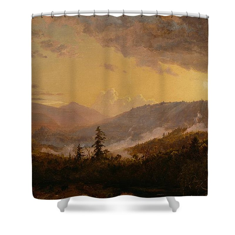 Sunset Shower Curtain featuring the painting Sunset After A Storm In The Catskill Mountains by Jasper Francis Cropsey
