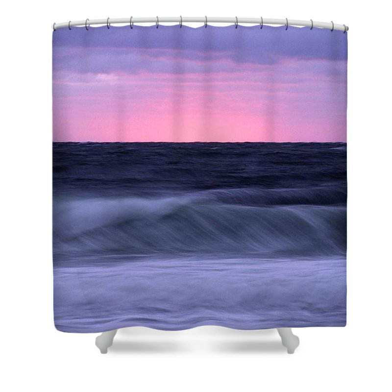 Sunrises And Sunsets Shower Curtain featuring the photograph Sunset And Storm Surf On The Gulf by Raymond Gehman