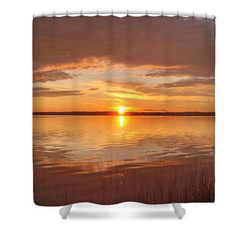 Lake Water Shore Reeds Beach Sunset Sky Shower Curtain featuring the photograph Sunset by Andrea Lawrence