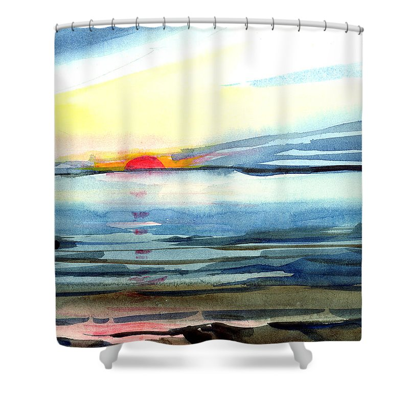 Landscape Seascape Ocean Water Watercolor Sunset Shower Curtain featuring the painting Sunset by Anil Nene