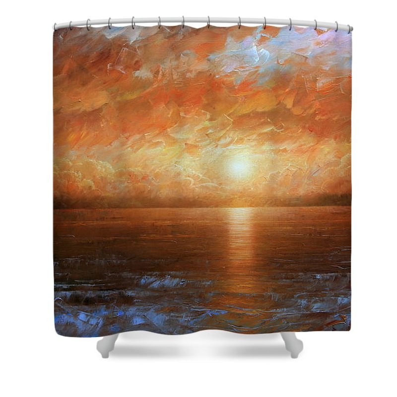 Landscape Shower Curtain featuring the painting Sunset by Arthur Braginsky