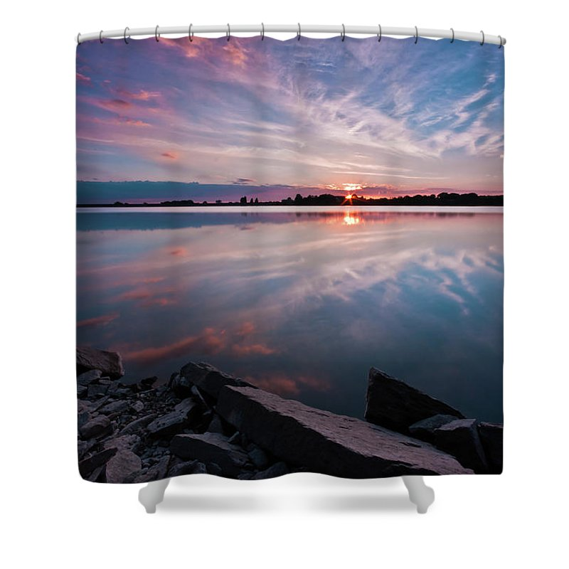 Sunrise Shower Curtain featuring the photograph Sunset at Anglezarke Reservoir #1, Rivington, Lancashire, North West England by Anthony Lawlor