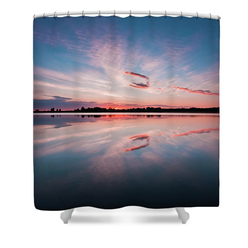 Sunrise Shower Curtain featuring the photograph Sunset at Anglezarke Reservoir #3, Rivington, Lancashire, North West England by Anthony Lawlor