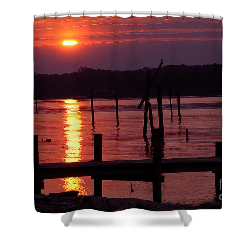 Clay Shower Curtain featuring the photograph Sunset At Colonial Beach by Clayton Bruster