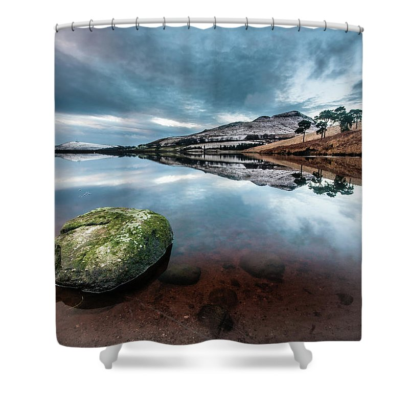 Sunset Shower Curtain featuring the photograph Sunset at Dovestone Reservoir, Greater Manchester, North West England by Anthony Lawlor
