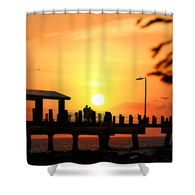 Fort De Soto Shower Curtain featuring the photograph Sunset At Fort De Soto Fishing Pier Pinellas County Park St. Petersburg Florida by Mal Bray