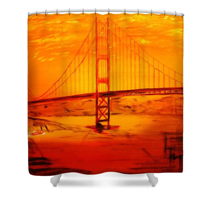 Sunset At Golden Gate Shower Curtain featuring the painting Sunset At Golden Gate by Helmut Rottler