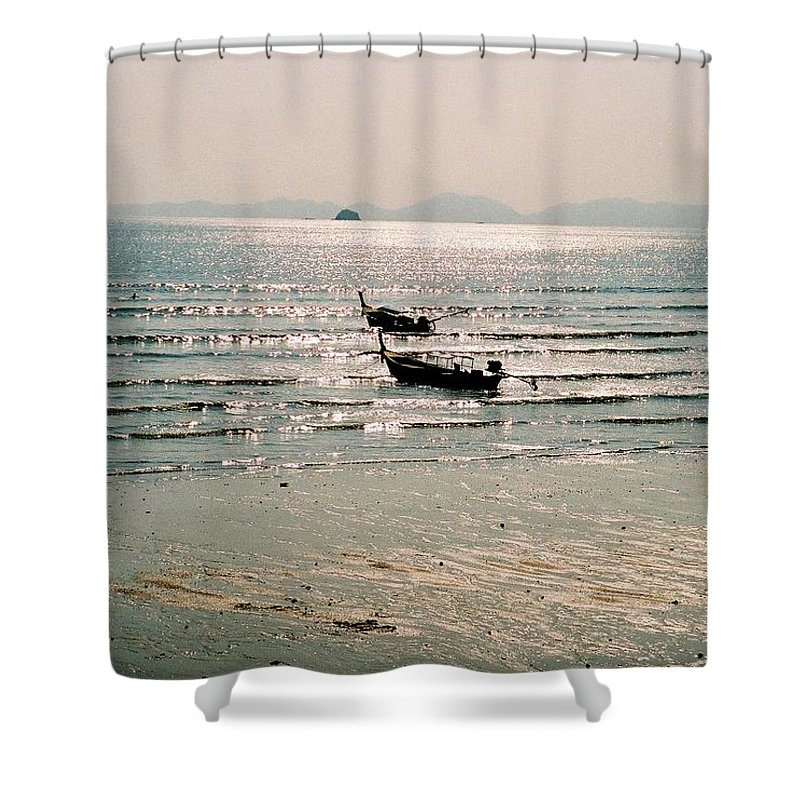 Sea Shower Curtain featuring the photograph Sunset At Krabi by Mary Rogers